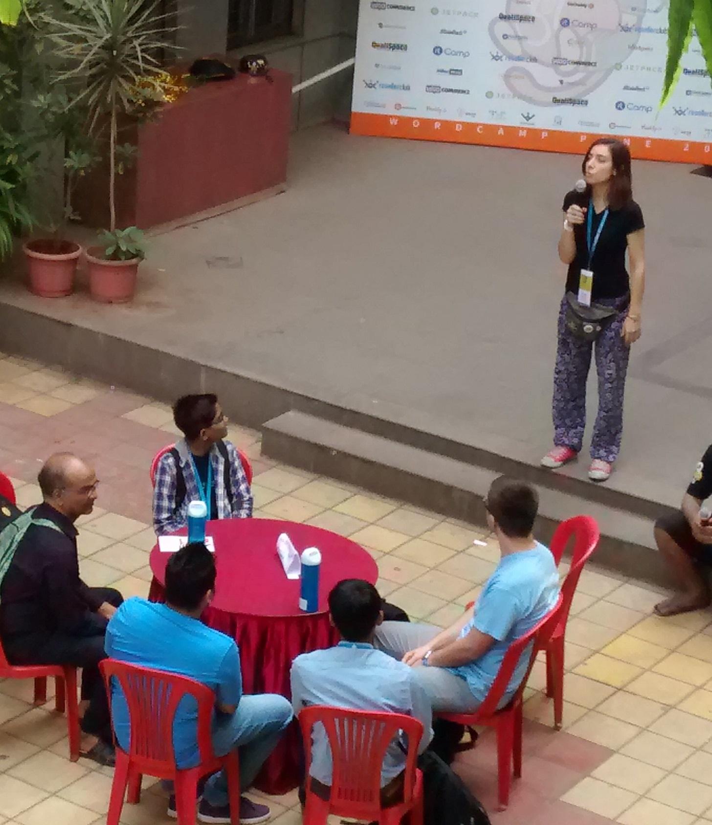 The speaker's circle at WordCamp Pune