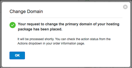 Changing Primary Domain name on Single Domain Hosting  Change of Primary domain name for SDH  MDH